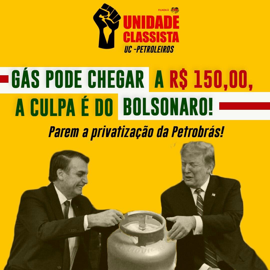 GÁS PODE CHEGAR A R$ 150,00, A CULPA É DO BOLSONARO!